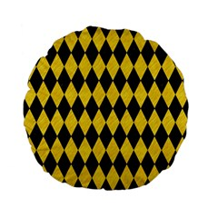 Diamond1 Black Marble & Yellow Colored Pencil Standard 15  Premium Flano Round Cushions by trendistuff