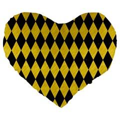 Diamond1 Black Marble & Yellow Colored Pencil Large 19  Premium Flano Heart Shape Cushions by trendistuff