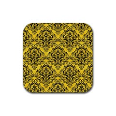 Damask1 Black Marble & Yellow Colored Pencil Rubber Square Coaster (4 Pack)  by trendistuff