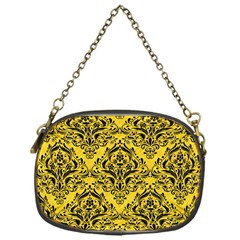 Damask1 Black Marble & Yellow Colored Pencil Chain Purses (one Side)  by trendistuff