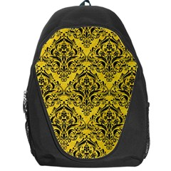 Damask1 Black Marble & Yellow Colored Pencil Backpack Bag