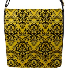 Damask1 Black Marble & Yellow Colored Pencil Flap Messenger Bag (s)