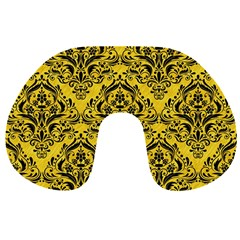 Damask1 Black Marble & Yellow Colored Pencil Travel Neck Pillows by trendistuff