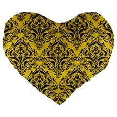 Damask1 Black Marble & Yellow Colored Pencil Large 19  Premium Flano Heart Shape Cushions