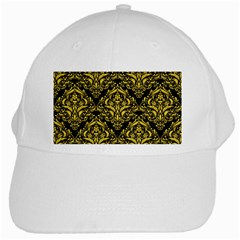 Damask1 Black Marble & Yellow Colored Pencil (r) White Cap by trendistuff