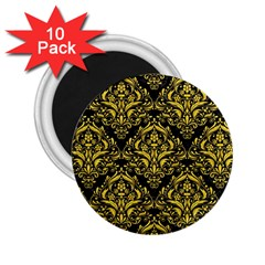 Damask1 Black Marble & Yellow Colored Pencil (r) 2 25  Magnets (10 Pack)  by trendistuff
