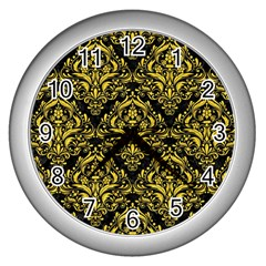 Damask1 Black Marble & Yellow Colored Pencil (r) Wall Clocks (silver)  by trendistuff