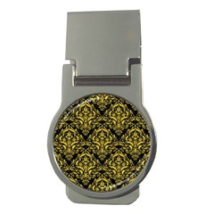 Damask1 Black Marble & Yellow Colored Pencil (r) Money Clips (round)  by trendistuff