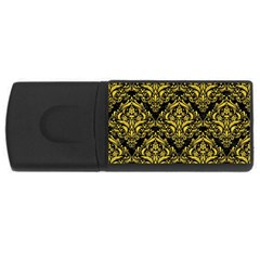 Damask1 Black Marble & Yellow Colored Pencil (r) Rectangular Usb Flash Drive by trendistuff