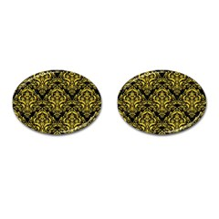 Damask1 Black Marble & Yellow Colored Pencil (r) Cufflinks (oval) by trendistuff