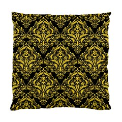 Damask1 Black Marble & Yellow Colored Pencil (r) Standard Cushion Case (one Side) by trendistuff