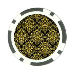 Damask1 Black Marble & Yellow Colored Pencil (r) Poker Chip Card Guard (10 Pack) by trendistuff