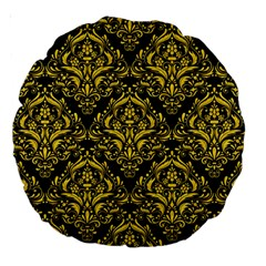 Damask1 Black Marble & Yellow Colored Pencil (r) Large 18  Premium Round Cushions by trendistuff