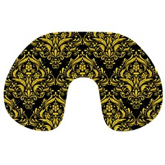 Damask1 Black Marble & Yellow Colored Pencil (r) Travel Neck Pillows by trendistuff