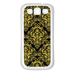Damask1 Black Marble & Yellow Colored Pencil (r) Samsung Galaxy S3 Back Case (white)