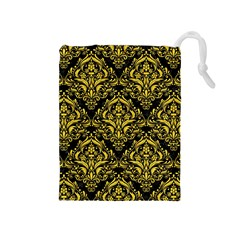 Damask1 Black Marble & Yellow Colored Pencil (r) Drawstring Pouches (medium)  by trendistuff