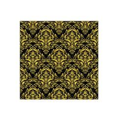 Damask1 Black Marble & Yellow Colored Pencil (r) Satin Bandana Scarf by trendistuff