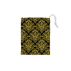 Damask1 Black Marble & Yellow Colored Pencil (r) Drawstring Pouches (xs)  by trendistuff