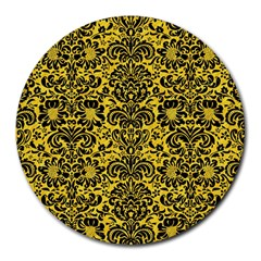 Damask2 Black Marble & Yellow Colored Pencil Round Mousepads by trendistuff
