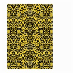 Damask2 Black Marble & Yellow Colored Pencil Small Garden Flag (two Sides) by trendistuff