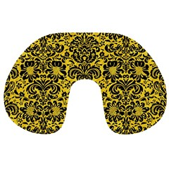 Damask2 Black Marble & Yellow Colored Pencil Travel Neck Pillows by trendistuff