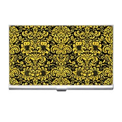 Damask2 Black Marble & Yellow Colored Pencil (r) Business Card Holders