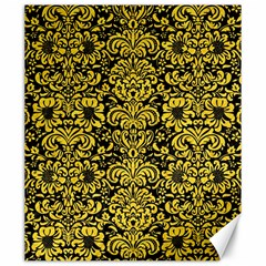Damask2 Black Marble & Yellow Colored Pencil (r) Canvas 20  X 24   by trendistuff