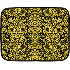 Damask2 Black Marble & Yellow Colored Pencil (r) Fleece Blanket (mini) by trendistuff