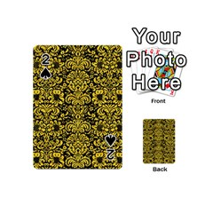 Damask2 Black Marble & Yellow Colored Pencil (r) Playing Cards 54 (mini)  by trendistuff