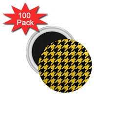 Houndstooth1 Black Marble & Yellow Colored Pencil 1 75  Magnets (100 Pack)  by trendistuff
