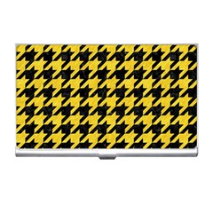 Houndstooth1 Black Marble & Yellow Colored Pencil Business Card Holders by trendistuff
