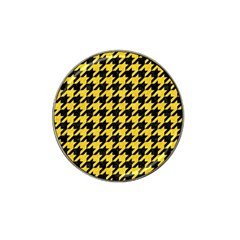 Houndstooth1 Black Marble & Yellow Colored Pencil Hat Clip Ball Marker by trendistuff