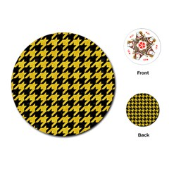 Houndstooth1 Black Marble & Yellow Colored Pencil Playing Cards (round)  by trendistuff