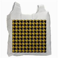 Houndstooth1 Black Marble & Yellow Colored Pencil Recycle Bag (two Side)  by trendistuff