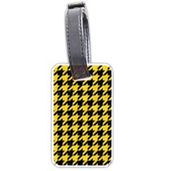 Houndstooth1 Black Marble & Yellow Colored Pencil Luggage Tags (one Side)  by trendistuff