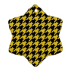 Houndstooth1 Black Marble & Yellow Colored Pencil Ornament (snowflake)