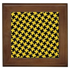 Houndstooth2 Black Marble & Yellow Colored Pencil Framed Tiles by trendistuff