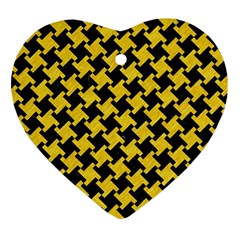 Houndstooth2 Black Marble & Yellow Colored Pencil Heart Ornament (two Sides) by trendistuff