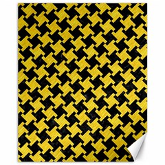Houndstooth2 Black Marble & Yellow Colored Pencil Canvas 11  X 14   by trendistuff