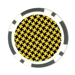 Houndstooth2 Black Marble & Yellow Colored Pencil Poker Chip Card Guard