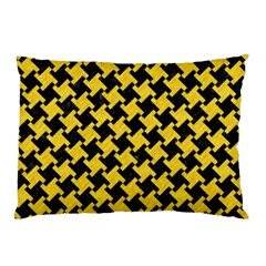 Houndstooth2 Black Marble & Yellow Colored Pencil Pillow Case by trendistuff