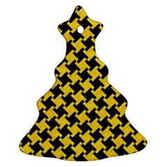 Houndstooth2 Black Marble & Yellow Colored Pencil Christmas Tree Ornament (two Sides) by trendistuff