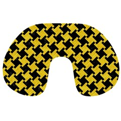 Houndstooth2 Black Marble & Yellow Colored Pencil Travel Neck Pillows by trendistuff