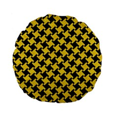 Houndstooth2 Black Marble & Yellow Colored Pencil Standard 15  Premium Flano Round Cushions by trendistuff