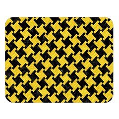 Houndstooth2 Black Marble & Yellow Colored Pencil Double Sided Flano Blanket (large)  by trendistuff