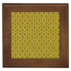 Hexagon1 Black Marble & Yellow Colored Pencil Framed Tiles by trendistuff