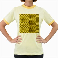 Hexagon1 Black Marble & Yellow Colored Pencil Women s Fitted Ringer T Shirts by trendistuff