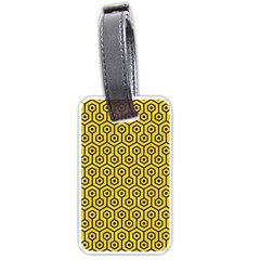 Hexagon1 Black Marble & Yellow Colored Pencil Luggage Tags (one Side)  by trendistuff