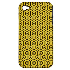 Hexagon1 Black Marble & Yellow Colored Pencil Apple Iphone 4/4s Hardshell Case (pc+silicone) by trendistuff