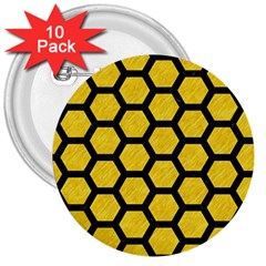 Hexagon2 Black Marble & Yellow Colored Pencil 3  Buttons (10 Pack)  by trendistuff